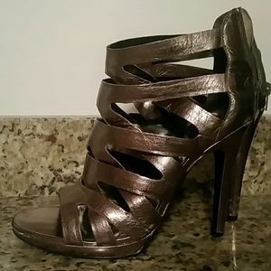 Strappy metallic taupe Dolce Vita heels